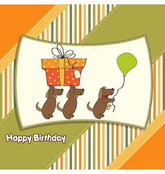 Three dogs that offer a big gift birthday greeting vector
