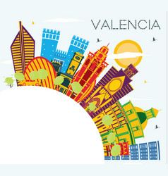 valencia spain city skyline with color buildings vector image
