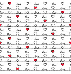 valentines day love quote heart seamless pattern vector image