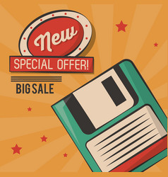 Vintage technology floppy big sale card vector