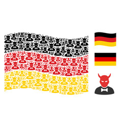 Waving germany flag pattern of devil icons vector
