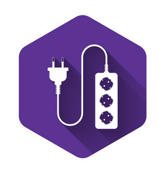 White electric extension cord icon isolated with vector