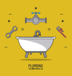 Yellow background poster plumbing services with vector