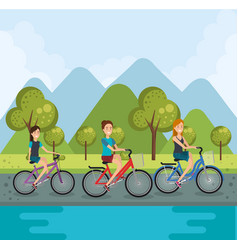 young women with bicycle vector image