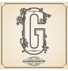Calligraphic font Letter G vector image