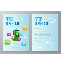 Design layout flyer White smartphone with cloud vector image vector image