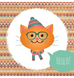 Hipster Cat in Textured Frame design vector image