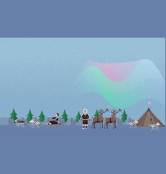 northern lights concept in vector image