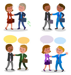 pairs of businessman shaking hands vector image