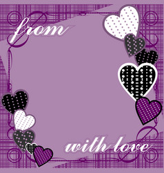purple background with hearts and text vector image vector image