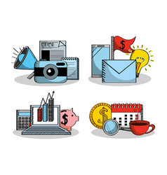 set of business elements financial money vector image