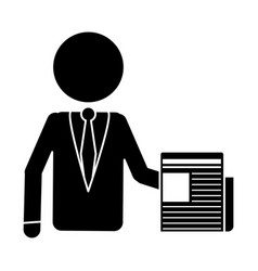 silhouette business man document work office vector image
