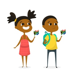two cartoon kids with the flags of South Africa vector image