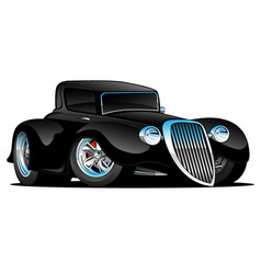 Black hot rod classic coupe cartoon vector