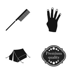 comb fingers and other web icon in black style vector image vector image