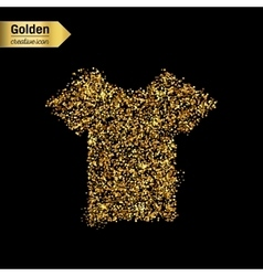 Gold glitter icon of tee shirt isolated on vector image