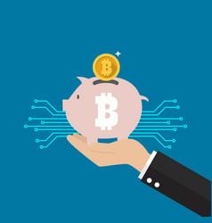 hand holding bitcoin piggy bank vector image