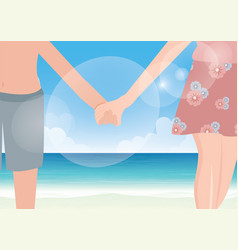 happy couple holding hands on sea background vector image vector image