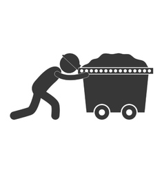 mining worker pushing trolley figure pictogram vector image
