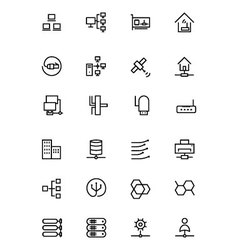 Network and Sharing Outline Icons 3 vector image