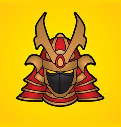samurai mask samurai helmet head weapon vector image vector image