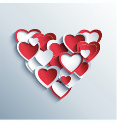 Valentines day card with red and white 3d hearts vector image vector image