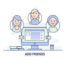 add friends social network social media icon in vector image