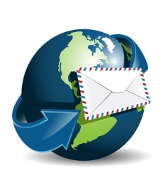 globe and envelope vector image vector image