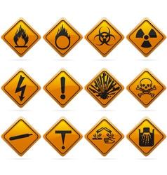 glossy diamond hazard signs vector image