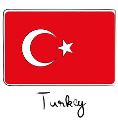 Turkey flag doodle vector image vector image