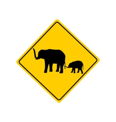 Elephants warning sign vector image vector image