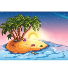 island with palm trees and treasure vector image