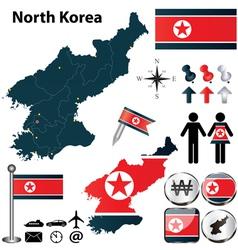 Map of North Korea vector image vector image