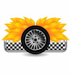 race tyre on fire vector image vector image