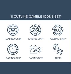 6 gamble icons vector