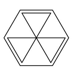 abstract cube shape hexagon box icon black color vector image