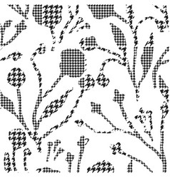 abstract flowers with hounds-tooth plaid pattern vector image