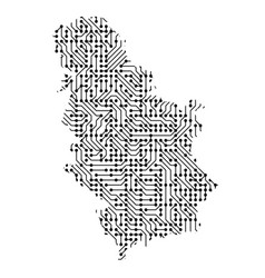 abstract schematic map of serbia from the black vector image