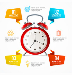Alarm clock menu infographic option banner card vector