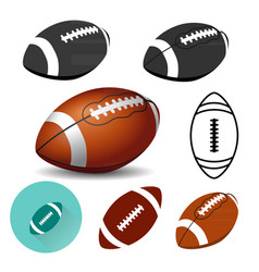 american football ball on white background rugby vector image