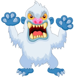 Angry cartoon yeti vector