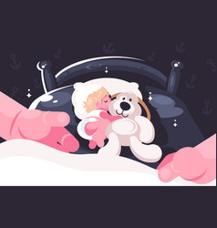 basleeping in crib with toy teddy bear vector image