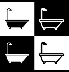 bathtub sign black and white icons and vector image