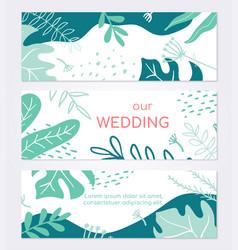 Beautiful wedding invitation card - set modern vector