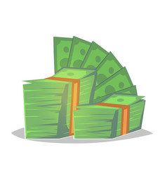 Big pile of cash money heap of packed dollar vector