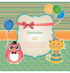 Birthday party invitation card design vector image