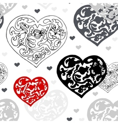 Black and white ornamental hearts pattern vector image