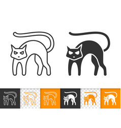 black cat halloween simple black line icon vector image