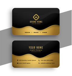 business card design in black and gold colors vector image
