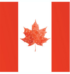 canada flag with low poly maple leaf vector image